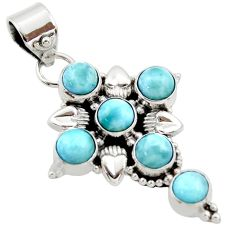 5.79cts natural blue larimar 925 sterling silver holy cross pendant r34982