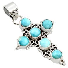 5.30cts natural blue larimar 925 sterling silver holy cross pendant r34985