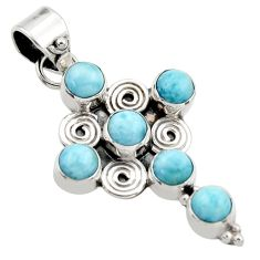 5.54cts natural blue larimar 925 sterling silver holy cross pendant r34987