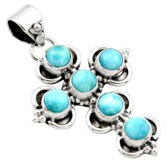 6.22cts natural blue larimar 925 sterling silver holy cross pendant r34992