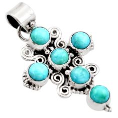 5.80cts natural blue larimar 925 sterling silver holy cross pendant r34996