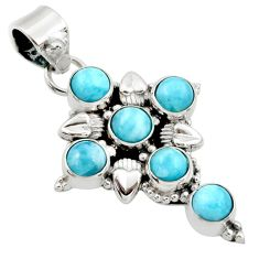 5.80cts natural blue larimar 925 sterling silver holy cross pendant r34999
