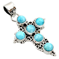 5.38cts natural blue larimar 925 sterling silver holy cross pendant r35000