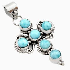 5.52cts natural blue larimar 925 sterling silver holy cross pendant r35001