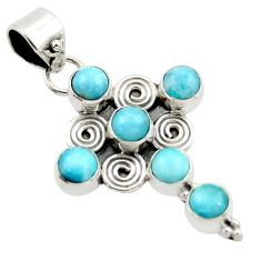 5.13cts natural blue larimar 925 sterling silver holy cross pendant r35002