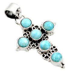 5.10cts natural blue larimar 925 sterling silver holy cross pendant r35003