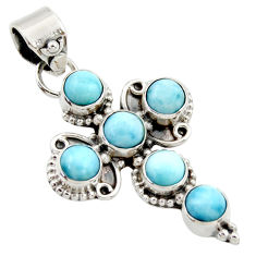 5.53cts natural blue larimar 925 sterling silver holy cross pendant r35005