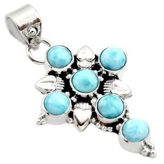 5.28cts natural blue larimar 925 sterling silver holy cross pendant r35013