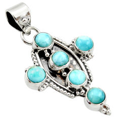 5.52cts natural blue larimar 925 sterling silver holy cross pendant r35014