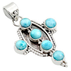 5.74cts natural blue larimar 925 sterling silver holy cross pendant r35016