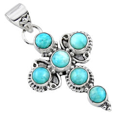5.63cts natural blue larimar 925 sterling silver holy cross pendant r55857