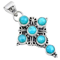 5.38cts natural blue larimar 925 sterling silver holy cross pendant r55859