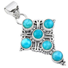 5.63cts natural blue larimar 925 sterling silver holy cross pendant r55860