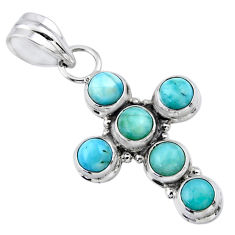 5.52cts natural blue larimar 925 sterling silver holy cross pendant r55898