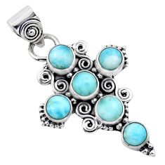 6.04cts natural blue larimar 925 sterling silver holy cross pendant r55940