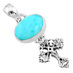 4.19cts natural blue larimar 925 sterling silver holy cross pendant r72357