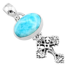3.83cts natural blue larimar 925 sterling silver holy cross pendant r72395