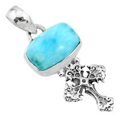 4.03cts natural blue larimar 925 sterling silver holy cross pendant r72399