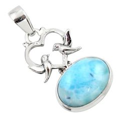 13.28cts natural blue larimar 925 sterling silver love birds pendant r43780