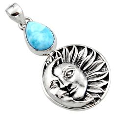 4.96cts natural blue larimar 925 sterling silver moon face pendant r52842
