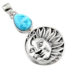 5.49cts natural blue larimar 925 sterling silver moon face pendant r52843