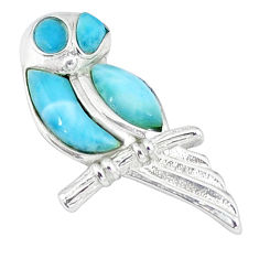 Natural blue larimar 925 sterling silver owl pendant jewelry a46821 c14088