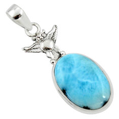 13.70cts natural blue larimar 925 sterling silver owl pendant jewelry r50321
