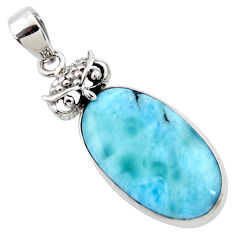 15.02cts natural blue larimar 925 sterling silver owl pendant jewelry r50338