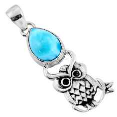 5.38cts natural blue larimar 925 sterling silver owl pendant jewelry r52912