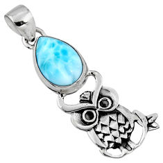 5.38cts natural blue larimar 925 sterling silver owl pendant jewelry r52913
