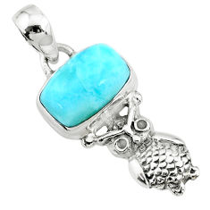 3.98cts natural blue larimar 925 sterling silver owl pendant jewelry r72378