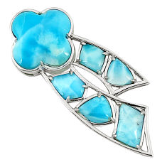 Natural blue larimar 925 sterling silver pendant jewelry a76550 c13967