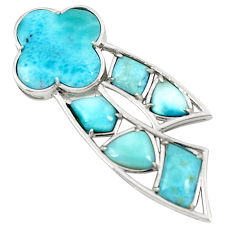 Natural blue larimar 925 sterling silver pendant jewelry a76552 c13995