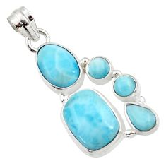 7.62cts natural blue larimar 925 sterling silver pendant jewelry d43759