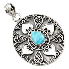 2.31cts natural blue larimar 925 sterling silver pendant jewelry d45976