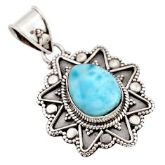 4.92cts natural blue larimar 925 sterling silver pendant jewelry d47410