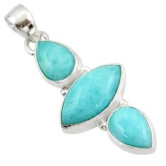 12.58cts natural blue larimar 925 sterling silver pendant jewelry d47411