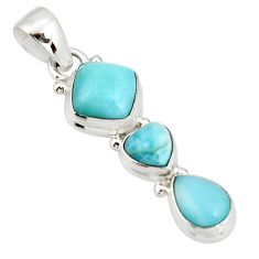5.54cts natural blue larimar 925 sterling silver pendant jewelry r20640