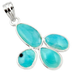 12.54cts natural blue larimar 925 sterling silver pendant jewelry r34922