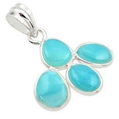 9.74cts natural blue larimar 925 sterling silver pendant jewelry r34926