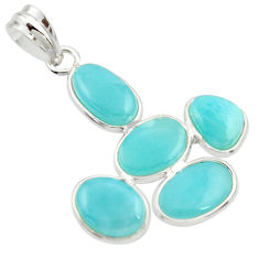 13.64cts natural blue larimar 925 sterling silver pendant jewelry r34927