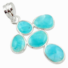 11.28cts natural blue larimar 925 sterling silver pendant jewelry r34929