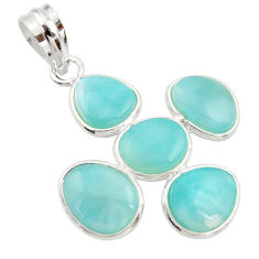 13.13cts natural blue larimar 925 sterling silver pendant jewelry r34930