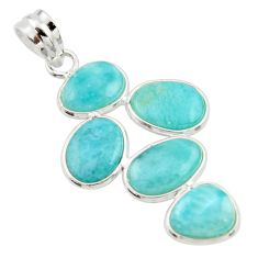12.43cts natural blue larimar 925 sterling silver pendant jewelry r34933