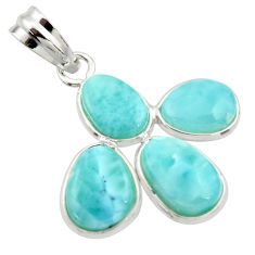 11.93cts natural blue larimar 925 sterling silver pendant jewelry r34934