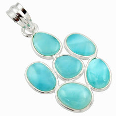 11.28cts natural blue larimar 925 sterling silver pendant jewelry r34937