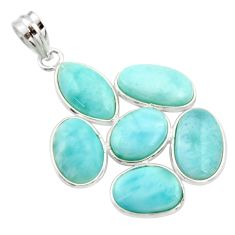 20.33cts natural blue larimar 925 sterling silver pendant jewelry r34944