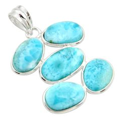 16.49cts natural blue larimar 925 sterling silver pendant jewelry r34945
