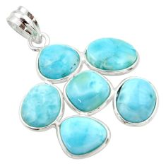 19.68cts natural blue larimar 925 sterling silver pendant jewelry r34947