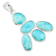 12.54cts natural blue larimar 925 sterling silver pendant jewelry r34948